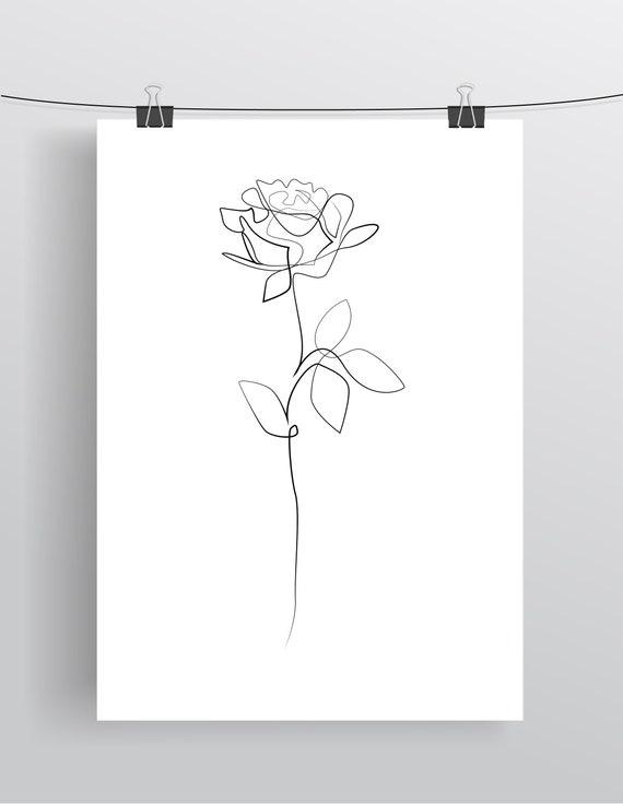 Dessin De Rose Fleur Imprimable Imprimer Dessin De Ligne Etsy