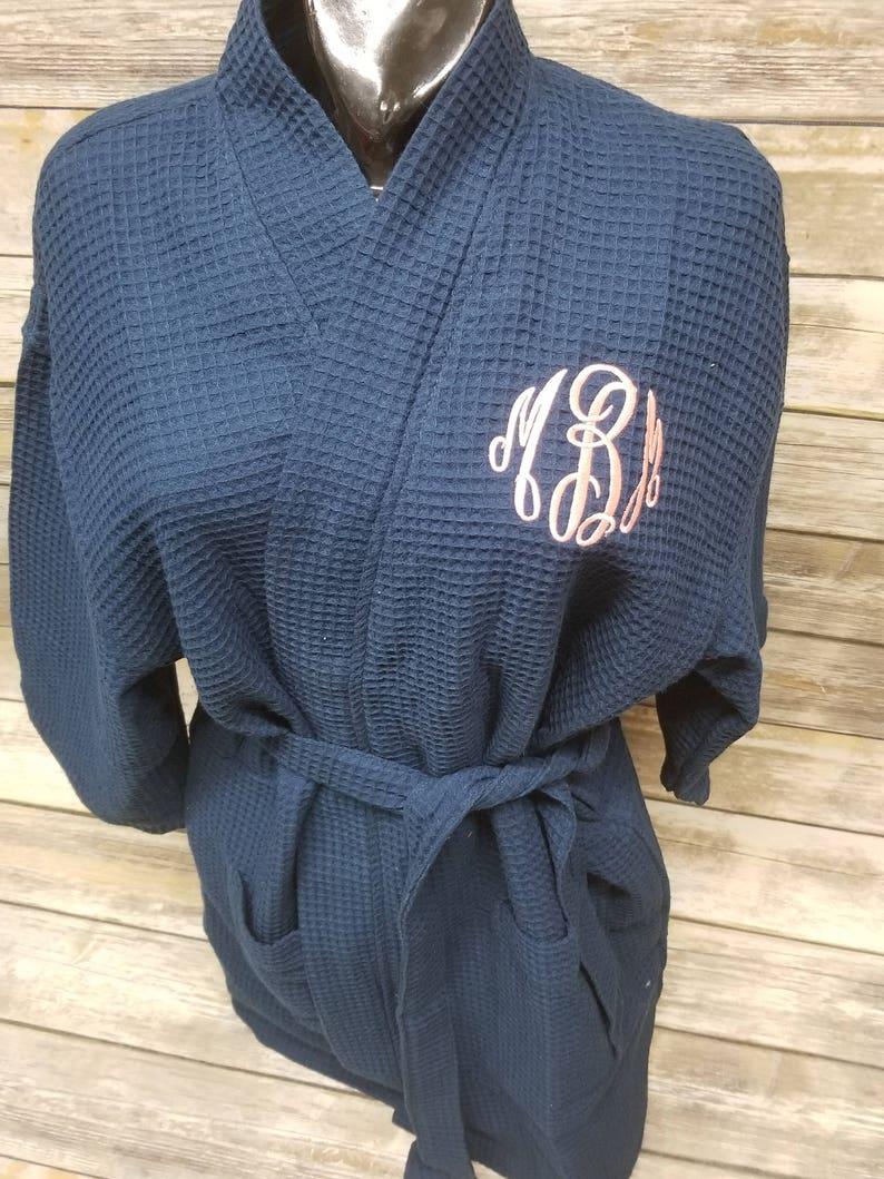 d666382524 Thigh Length Waffle Weave Kimono Robe