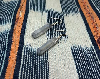 Gray Quartz Crystal Earrings