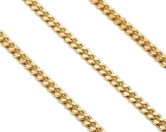 2mm Raw Brass Cable Chains Soldered Chains CHN286 Bar Chains Curb Chains Necklace Findings