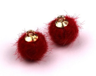 TT1001GY Earring Findings Jewelry Accessories Aluminum Alloy Pom Pom Earring Charms Fur Ball Pendant 15x10mm