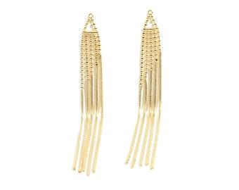 Gold Color Chain Charm for Tassel Earrings 47mm Quadruple Oval Shinny Drop Chain Tassel Mint ET0031 2 pcs