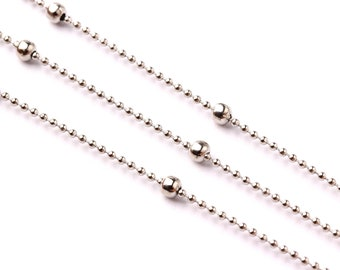 """Ball Satellite Ball Chain - Brass Chain- Silver Plated - 0.05"""" - for Necklace Bracelet Earing Jewellery Making - CC1017"""