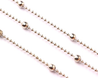 """Ball Satellite Ball Chain - Brass Chain- Silver Plated - 0.06"""" - for Necklace Bracelet Earing Jewellery Making - CC1015"""