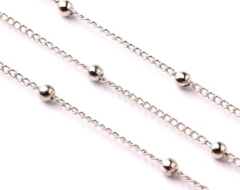 """Ball Satellite Curb Chain - Iron Chain- Silver Plated - Soldered - 0.07"""" x 0.05"""" x 0.01"""" - for Necklace Bracelet Jewellery Making - CC1014"""