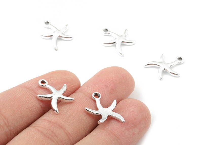 Silver Tone Plated Alloy Starfish Charms 16.25x13.81x1.85mm ZZ1481 Zinc Alloy Starfish Earrings and Pendant