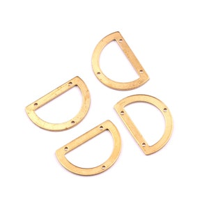 D Shaped Raw Brass Connector with 3 Holes Jewelry Supplies 21.5x14.5x0.8mm PP1224 Brass Geometric Charms