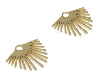 Brass Fringe Earring Charms - Raw Brass Fringe Pendant - Earring Findings - DIY Jewelry Making Supplies - 21.12x23.4x0.99mm - PP3962