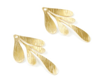 Brass Textured Leaf Charms - Textured Leaf Shaped Raw Brass Pendant - Earring Findings - Jewelry Supplies - 46x26,64x0,84mm - PP2074