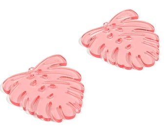 Acrylic Leaf Earring Charms - Acrylic Pink Monstera Earrings - Jewelry Supplies - Color Code:A465 - 45.1x43.31x3.03mm - AC2172-A465