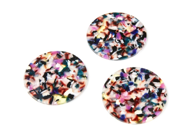 Acetate Acrylic Earring Charms AC1296D Color Code: A11-57x57x2,75mm Coin Shaped Pendant Solid Tortoise Shell Earrings