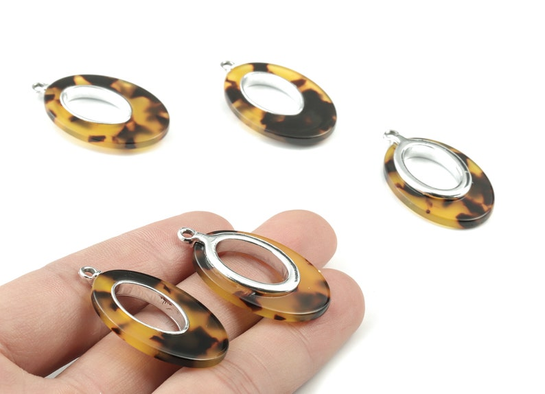 AC1183-A02S Silver Alloy Frame Tortoise Shell Charms 35.7x21.73x4.15mm Tortosise Marquise  Pendant Acetate Alloy Drop Earring Charms