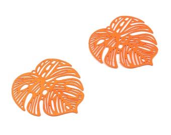 Luminous Orange Monstera Pendant - Brass Monstera Charm For Necklace - Earring Supplies - Color Code: J20 - 37x36.43x5.47mm - JJB5106-J20