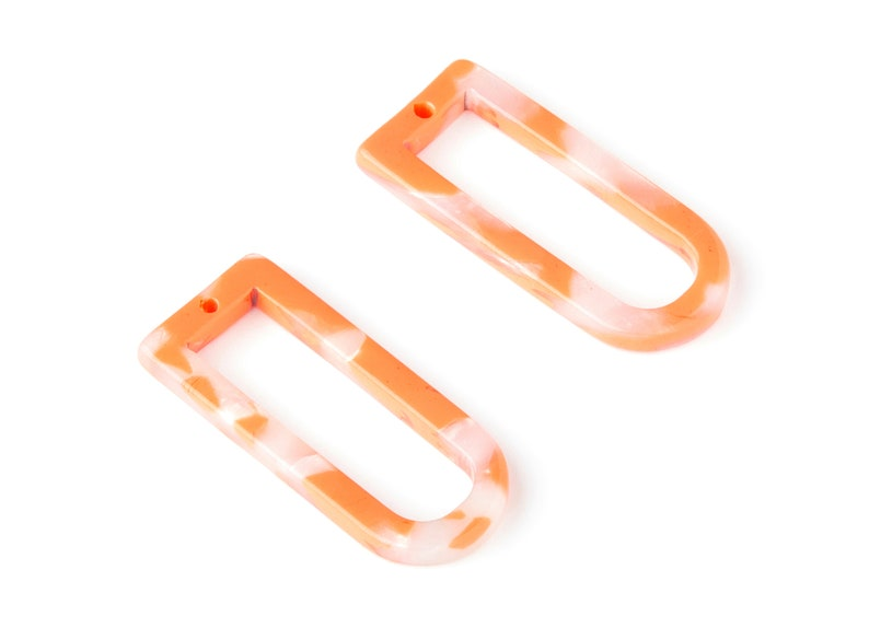 Color Code: A39-29.68x12.7x2.7mm D Shaped Pendant Acetate D Earring Charms Jewelry Supplies AC1364P Earring Finding