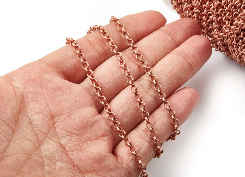 CC1096 Iron Rolo Chain Iron Chain Soldered Round Rolo Chain for Necklace Bracelet Jewellery Making 0.15 x 0.15 x 0.04