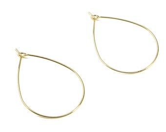 Brass Drop Earring Wire - Brass Gold Drop Earring Wire Charms - 18K Real Gold Plated Brass - Jewelry Supplies - 38.47x26.14x0.74mm - RGP2375