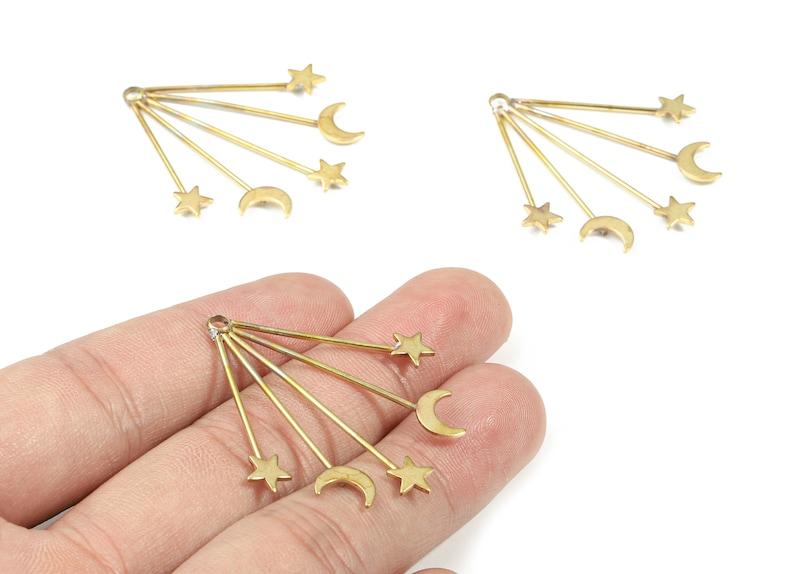 Raw Brass Sun Earring And Pendant Earring Findings 14.83x10.3x2.05mm Jewelry Supplies Brass Sun Earring Connectors PP3272