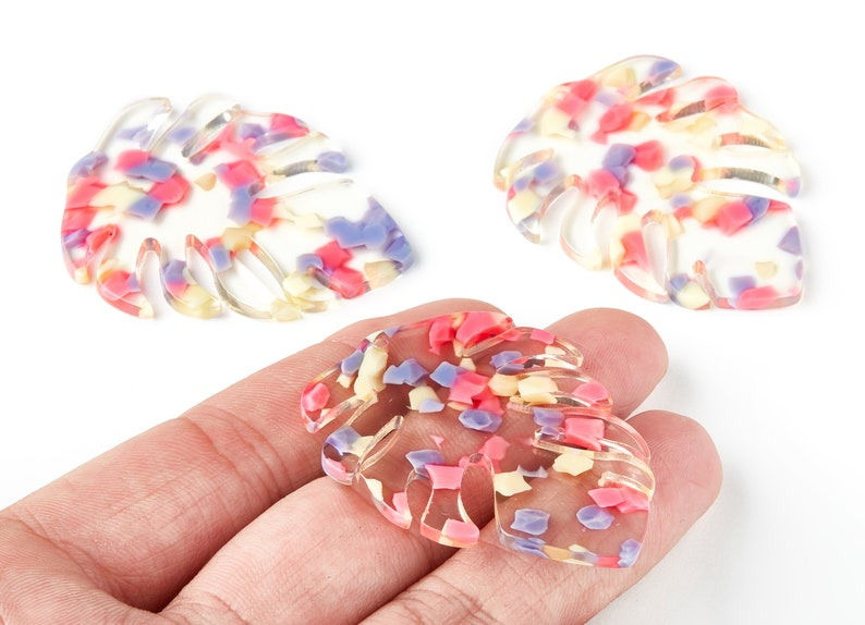 Jewelry Supplies Acetate Leaf Earring Charms Earring Findings Color Code: A168-49.56x40.27x2.6mm Leaf Shaped Pendant AC1451-A168