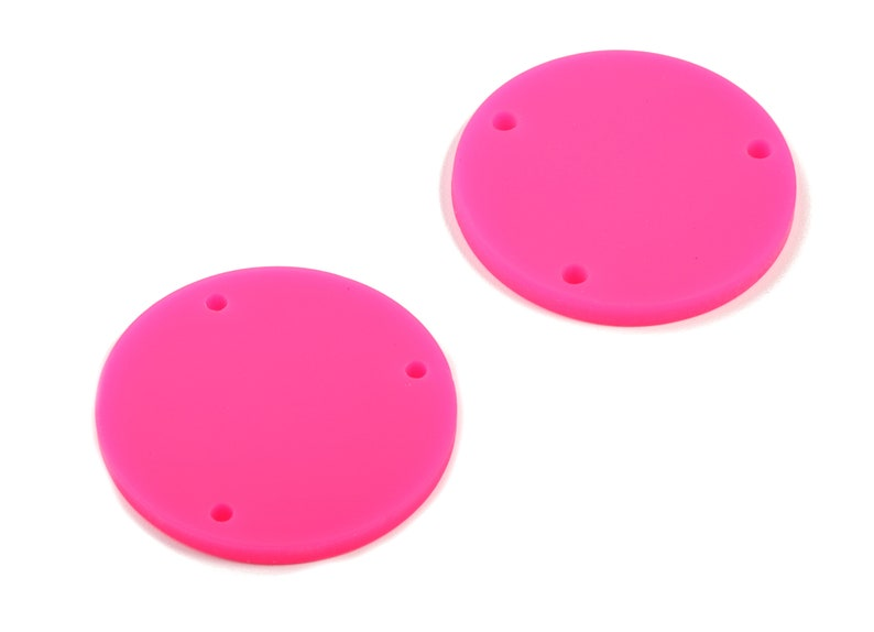 Matte Circle Earring Charms AC1887A 3 Holes Color Code:A472-25.77x25.77x2.29mm Acrylic Round Earring Connector Jewelry Supplies