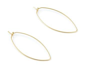 Brass Stud Earring Wire - Raw Brass Ear  Hooks - Earring Findings - Jewelry Supplies - 39.1x17.37x0.7mm - PP1509
