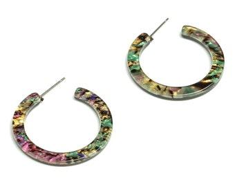 Open Hoop Earrings Stud - 1.2 inch Hoop Earring - Mix Round Earring Post - Color Code: A652 - 31.32x31.02x2.64mm - AC1829-A652
