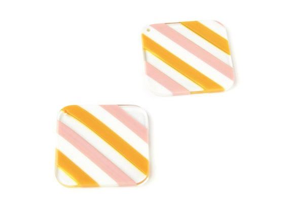 Acetate Acrylic Earring Charms - Tortoise Shell Earrings - Big Square  pendant - Color Code: A117 - 38,1x38,1x2,72mm - AC1257A