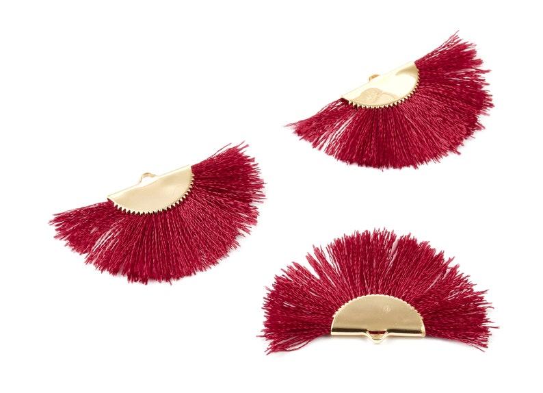 18K Real Gold Plated Brass Earrings 45x29x2.8mm Fringe Tassel On A Brass findings Earrings RGP1001J Fan Tassel Earring Charms