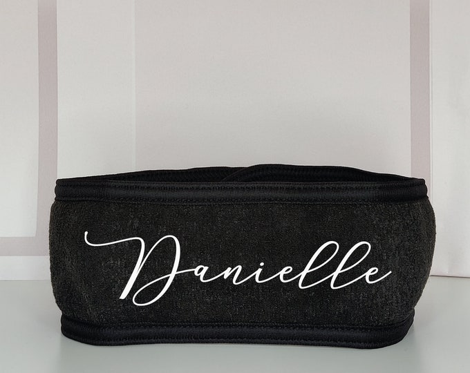 Black personalised spa headband: makeup/facial headband