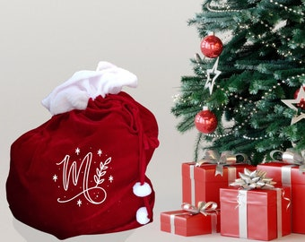 XL Christmas sack personalised monogram , traditional red present sack