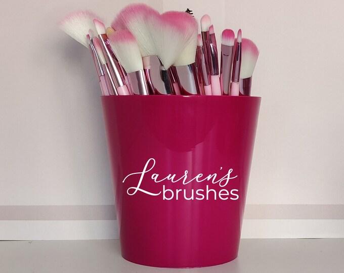 Pink personalised makeup brush holder