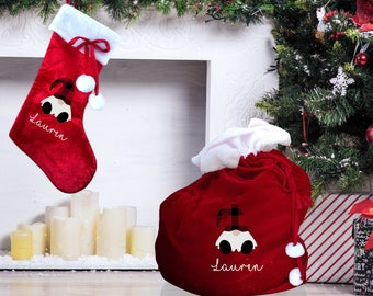 Christmas stocking and XL present sack personalised with gonk/gnome design