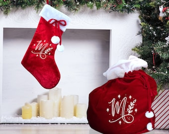 Christmas stocking and XL present sack personalised with monogram design