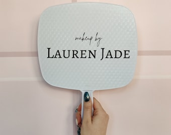 White personalised Handheld Mirror for makeup artists/ makeup lovers