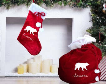 Christmas stocking and XL present sack personalised with polar bear design