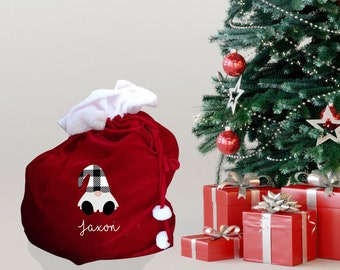 Personalised XL Christmas sack with gonk/gnome design, traditional red present sack