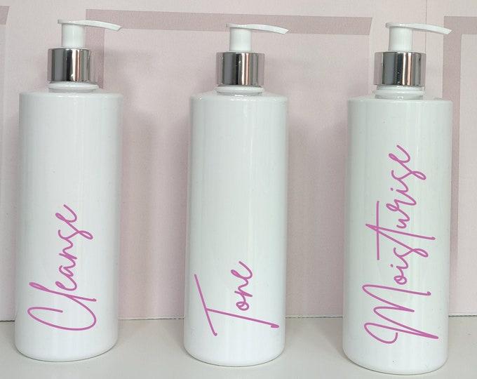 Set of 3 pump bottles for skin care organisation: cleanse, tone, moisturise
