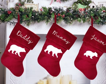 Personalised Christmas stocking with family polar bear design, traditional red Christmas stocking