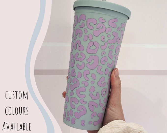 22oz iced coffee cup/cold cup with animal print design