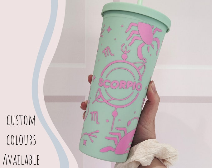 22oz iced coffee cup/cold cup with custom astrology/star sign design