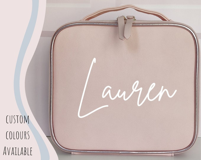 Pink personalised makeup case - cosmetics travel case