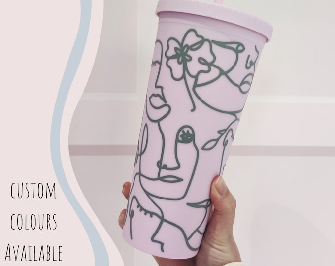 22oz iced coffee cup/cold cup with abstract faces design