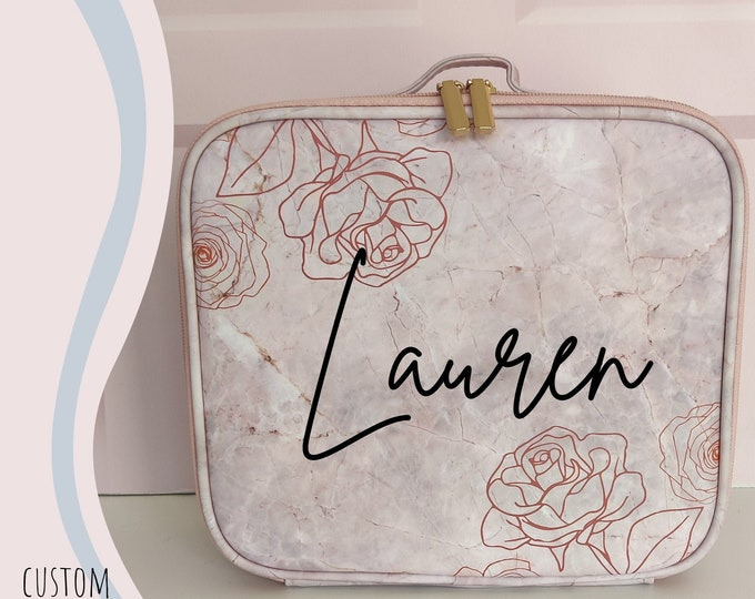 Pink rose/floral personalised makeup case - cosmetics travel case
