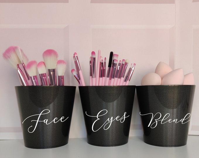 Black makeup brush holder set of 3: Face/Eyes/Blend - makeup artist storage, makeup storage