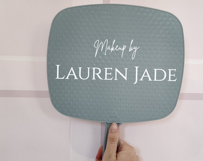 Grey personalised Handheld Mirror for makeup artists/ makeup lovers