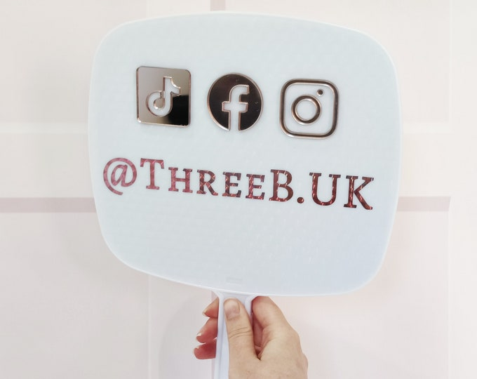 White personalised social media handheld mirror with 3D icons