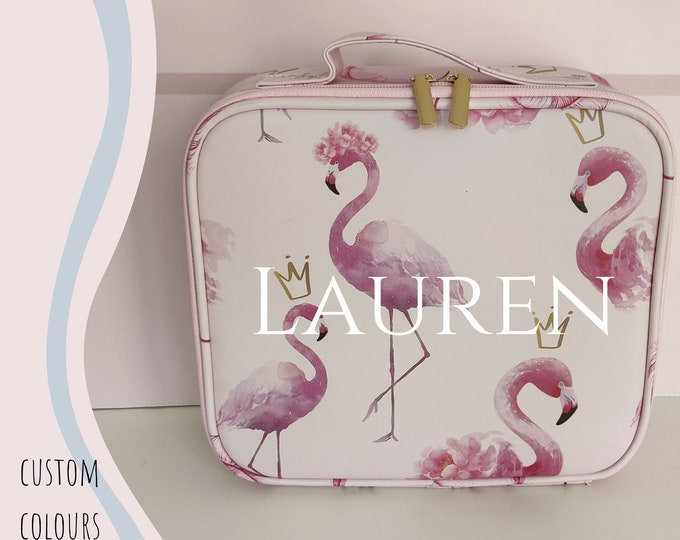 Pink flamingo personalised makeup case - cosmetics travel case