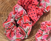 Dotted, Watermelon Scrunchies