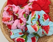 Watermelon Cotton Scrunchies