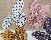 Knot Scrunchies, Bow Scrunchies, Silk Pearl Scrunchies