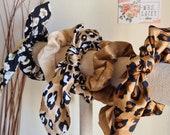 Satin Bunny Ear Hair Bow Tie, Satin Scrunchies